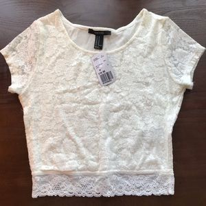 Forever 21 White Lace Crop Top New with Tags